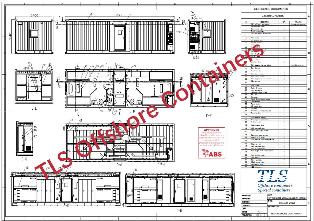 ABS approved offshore accommodation modules, 8 pax accommodation cabin, ABS guildline, 32ft accommodation cabin, Dimension 9800*3400*3048mm, zone 2 applied