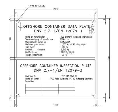 Offshore container data plate, DNV2.7-1 / EN12079, inspection plate