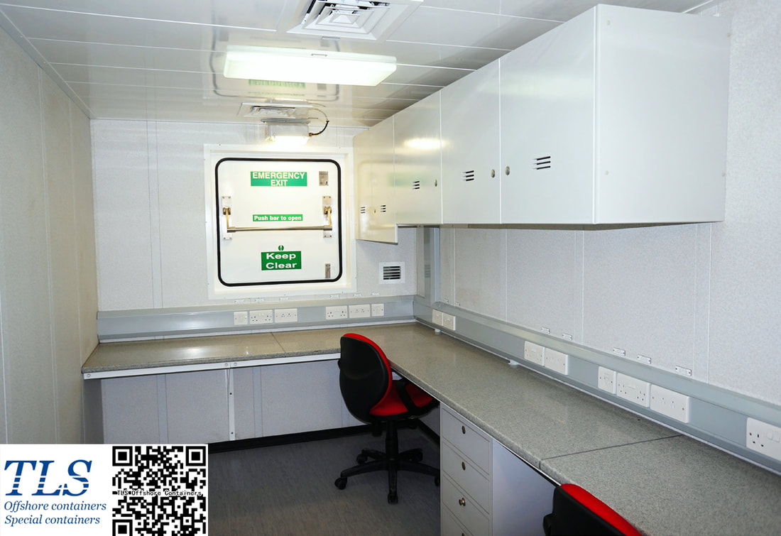 zone 1 / zone 2 rated office container, DNV2.7-1 certified, IEC60079-13 classified, 20ft office module, equipped with CPFG